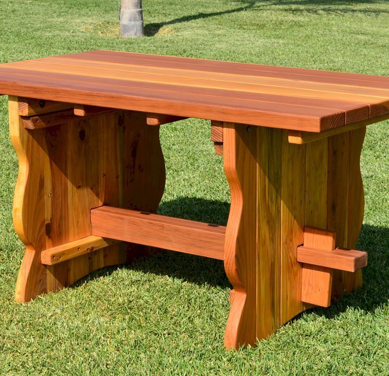Trestle Table (Options: 5' L, 34 1/2'' W Tabletop, No Seating, Redwood, Standard Tabletop, Slightly Rounded Corners, No Umbrella Hole, Transparent Premium Sealant).