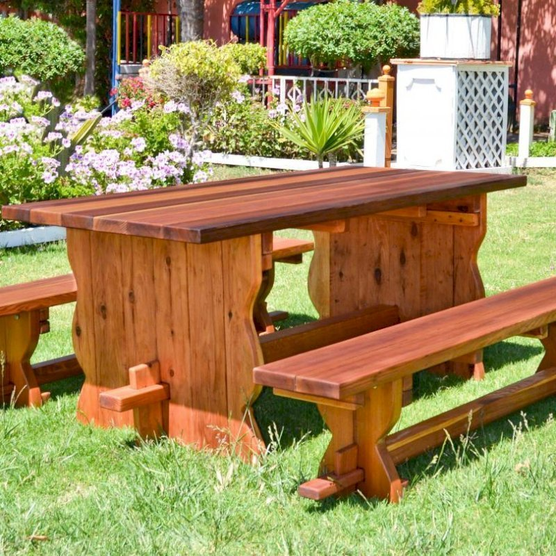 Trestle Table (Options: 6' L, 34 1/2'' W Tabletop, Side Benches, Redwood, Standard Tabletop, Squared Corners, 1 Full Length Side Benche Per Side, No Umbrella Hole, Transparent Premium Sealant).