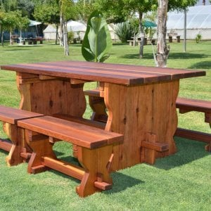 Trestle Table (Options: 6' L, 34 1/2'' W Tabletop, Side Benches, Redwood, Standard Tabletop, Squared Corners, 2 Half Length Side Benche Per Side, No Umbrella Hole, Transparent Premium Sealant).