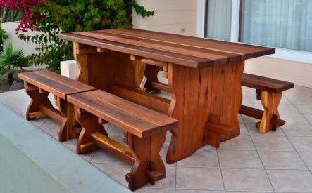 Trestle Natural Wood Outdoor Table