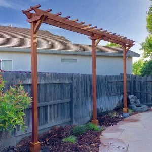 Custom 3-Post Arbor (Options: 18' x 2', Redwood, No Privacy Panel, 10.5 ft Posts Height, 3-Post Anchor Kit for Gale-Wind, Transparent Premium Sealant). Photo Courtesy of T. Bauer of Sacramento, CA.