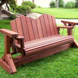 Adirondack Chain Gliders (Options: 3-Person, Old-Growth Redwood, Cherry Stain)