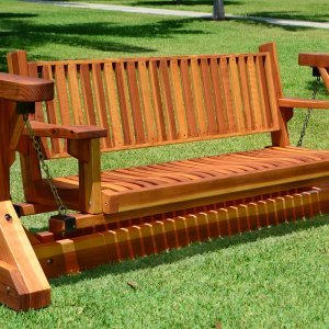 Custom Adirondack Chain Glider (Options: 3-Person, Redwood,  Classic Swing Bench Seat by Custom Request, Transparent Premium Sealant).
