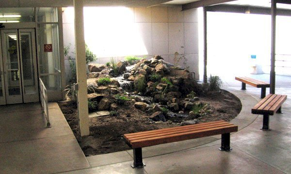 VA Benches (Options: 6 ft, Mature Redwood, Bold Down Legs, No Cushion, No Engraving, Transparent Premium Sealant). Photo Courtesy of the Fresno Veteran's Administration Hospital in Fresno, CA.