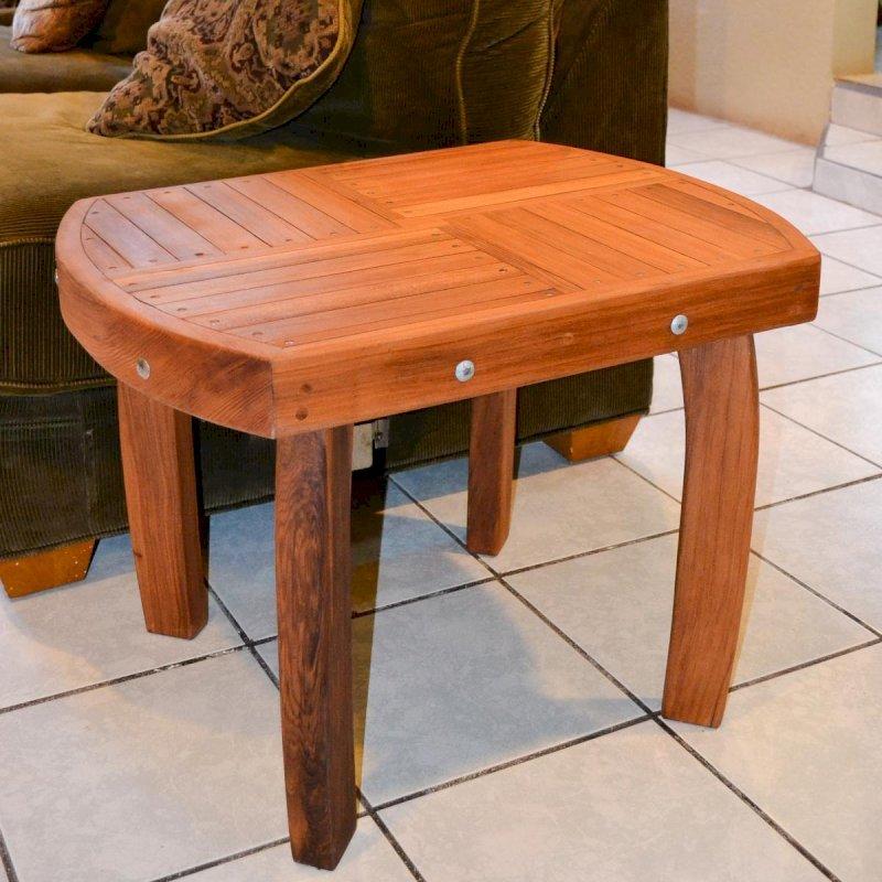 "Vera's Side Table (Options: 21 ½"", Mature Redwood, 20"" H, Transparent Premium Sealant)."