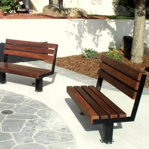 Veterans Bench (Options: 4 ft, Old Growth Redwood, Bolt Down Legs, No Cushion, No Engraving, Coffee-Stain Premium Sealant). Photo Courtesy of Veteran's Administration Hospital in Fresno, CA.