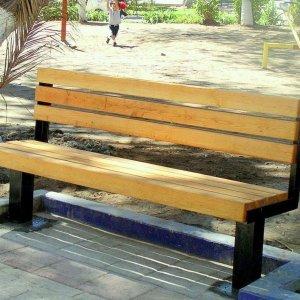 Veterans Bench (Options: 6 ft, Douglas-fir, Extra Long Legs, No Cushion, No Engraving, Transparent Premium Sealant). Photo was taken just after installation - note wet concrete around bench legs.