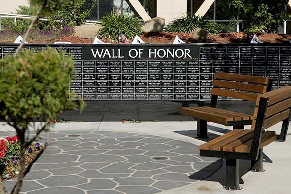 Veterans Benches (Options: 4 ft, Old Growth Redwood, Bolt Down Legs, No Cushion, No Engraving, Coffee-Stain Premium Sealant).  Photo Courtesy of Veteran's Administration Hospital in Fresno, CA.