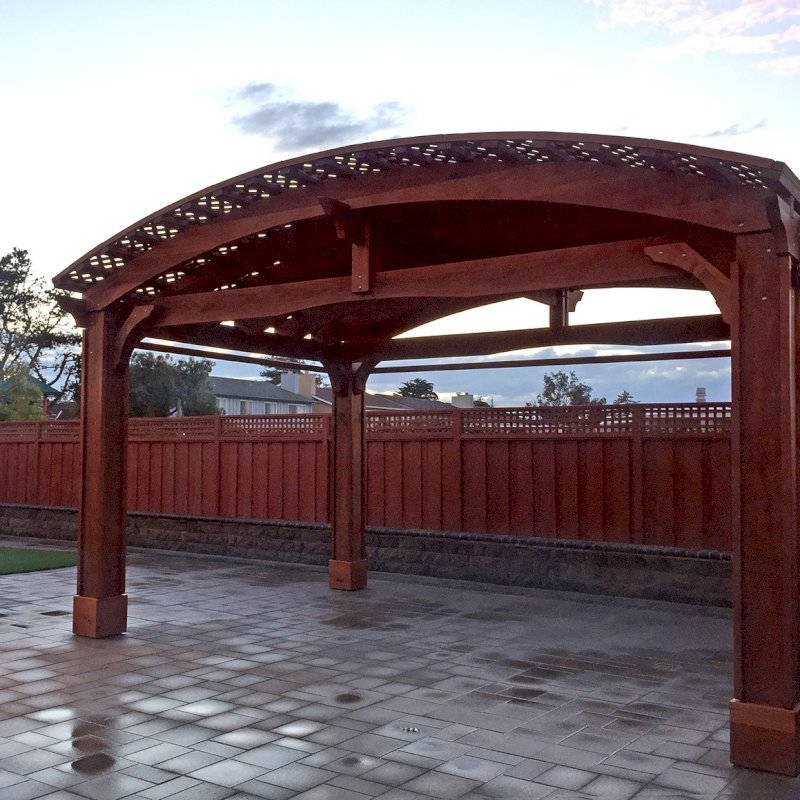 Custom Viking Pergola DIY Kit (Options: 14' L x 20' W, Mature Redwood, Extra Thick Lumber, 3 Curtain Rods, 4-Post Anchor Kit for Concrete, Transparent Premium Sealant). Photo Courtesy of R. Huckaby of Foster City, CA.