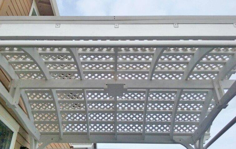Viking Pergola DIY Kit (Options: 14' L x 14' W, Douglas-fir, Electrical Wiring Trim Kit for 1 Post, 4-Post Anchor Kit for Concrete, 3 Curtain Rods, Off-White Oil-Based Primer). Photo Courtesy of G. Bala of Santa Rosa, CA.
