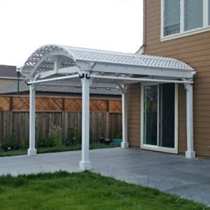 Viking Pergola DIY Kit (Options: 14' L x 14' W, Douglas-fir, Electrical Wiring Trim Kit for 1 Post, 4-Post Anchor Kit for Concrete, 3 Curtain Rods, Off-White Oil-Based Primer). Photo Courtesy of G. Bala of Santa Rosa, CA.