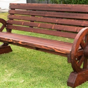 Wagon Wheel Bench (Options. 6 ft, Mature Redwood (20-yr Warranty) , No Cushion, Custom Engraving - 51-100 chars, Cherry Stain Premium Sealant).