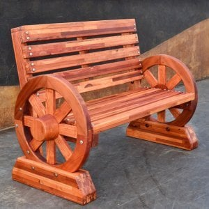Wagon Wheel Bench (Options: 4 ft, Mosaic Eco-Wood, No Cushion, No Engraving, Transparent Premium Sealant).