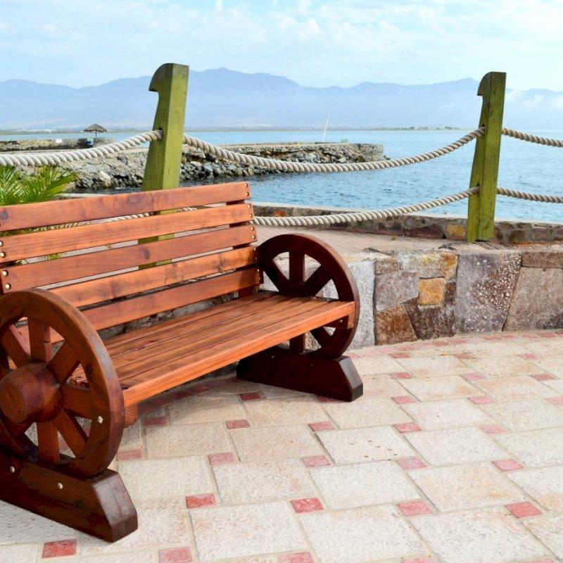 Wagon Wheel Bench (Options. 5 ft, Old-Growth Redwood, No Cushion, No Engraving, Transparent Premium Sealant).