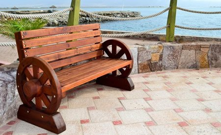 Wagon Wheel Wooden Bench