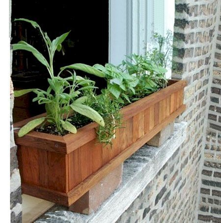 "Window Box Planter (Options: 36"" L, 9"" W, 9"" H, Standard Base, Mature Redwood, No Steel Hangers, No Railing Strips, No Growing Vegetables, Transparent Premium Sealant)."