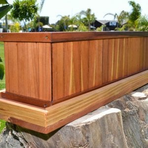 "Window Box Planter (Options: 36"" L x 9"" W x 9"" H, Add 3/4"" Base, Mature Redwood, No Steel Hangers, No Growing Vegetables, Transparent Premium Sealant). and Water Tray [not included] (Options: 3"" Tall - For Planters up to 36""W x up to 40""L)"