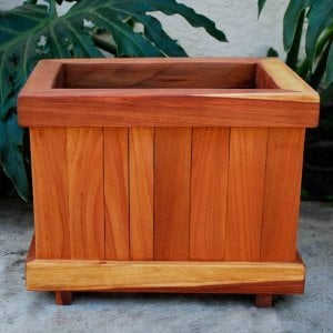 "Window Box Planter (Options: 18"" L, 12"" W, 12"" H, 3/4"" base, Redwood, No Steel Hangers, No Growing Vegetables, Transparent Premium Sealant)."