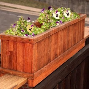 "Window Box Planter (Options: 24"" L, 9"" W, 9"" H, Standard Base, Mature Redwood, No Steel Hangers, Railing Strips, No Growing Vegetables, Transparent Premium Sealant)."
