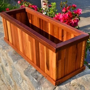 "Window Box Planter (Options: 24"" L, 9"" W, 9"" H, Standard Base, Mosaic Eco-Wood, No Steel hangers, No Fit Over Railings, No Growing Vegetables, Transparent Premium Sealant)."