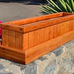 "Window Box Planter (Options: 24"" L, 7.5"" W x 7.5"" H, Standard Base, Douglas-Fi​r, No Steel Hangers, No Fit Over Railings, No Growing Vegetables, Transparen​t Premium Sealant) and Water Tray [not included] (Options: 2"" Tall for Planters up to 12''W x 40''L, Transparen​t Premium Sealant)."