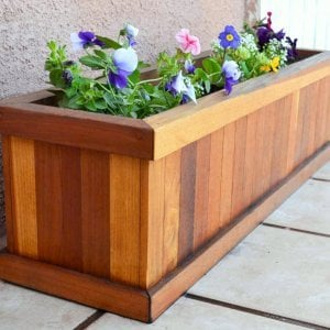 "Window Box Planter (Options: 30"" L, 9"" W, 9"" H, Standard Base, Redwood, No Steel Hangers, No Railing Strips, No Growing Vegetables, Transparent Premium Sealant)."