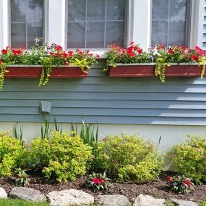 "Window Box Planters (Options: 24"" L, 9"" W, 9"" H, Redwood, Add Steel Hangers, No Railing Strips, Custom Finish)."
