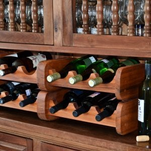 2 Wine Racks (Options: 6 Bottle Size, Old-Growth Redwood, Transparent Premium Sealant).