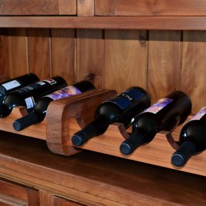 Wine Rack (Options: 6 Bottle Size, Old-Growth Redwood, Transparent Premium Sealant).