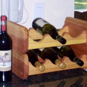 2 Wine Racks (Options: 3 bottle size, Redwood, Transparent Premium Sealant).
