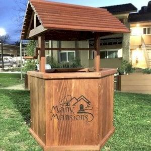 Wishing Well (Options: XL Size, Redwood, Custom Engraving, Transparent Premium Sealant). Photo Courtesy of Y. Saenz-Solis of Thousand Oaks, California.