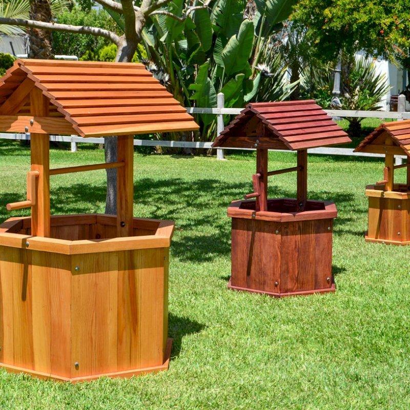 "Wishing Wells (Options: Left [Large 32"", Douglas-fir, Transparent Premium Sealant], Center [Standard 27"", Douglas-fir, Cherry Stain Premium Sealant] & Right [Kid's 22"", Redwood, Transparent Premium Sealant])."