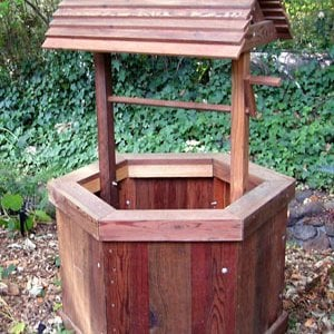 "Wishing Well (Options: Standard 27"", Mature Redwood, Transparent Premium Sealant)."