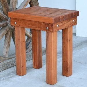 Wood Patio Bench (Options: 1 1/2 ft x 14 1/4 inches W x 21 1/2 inches H, Mature Redwood, No Cushion, No Engraving, Transparent Premium Sealant).