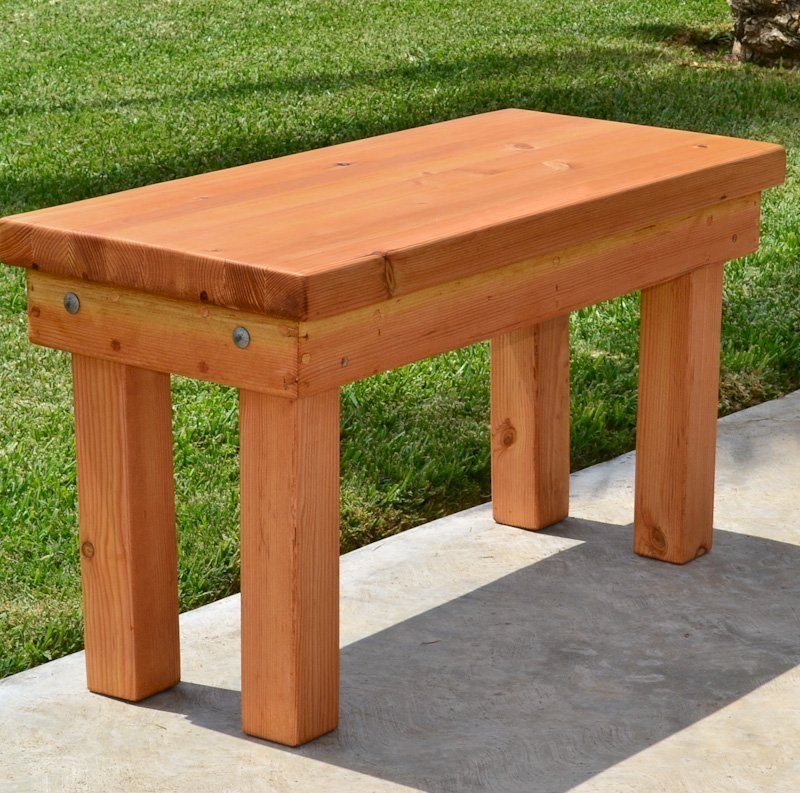 Wood Patio Bench (Options: 3 1/2 ft x 14 1/4 inches W x 18 1/2 inches H, Douglas-fir, No Cushion, No Engraving, Cherry Stain Premium Sealant).