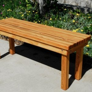Wood Patio Bench (Options: 4 1/2 ft x 17 3/4 inches W x 21 1/2 inches H, Douglas-fir, No Cushion, No Engraving, Transparent Premium Sealant).