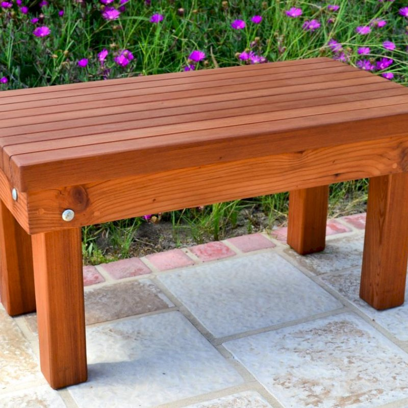 Wood Patio Bench (Options: 2 1/2 ft x 16 inches W x 15 1/2 inches H,Mature Redwood, No Cushion, No Engraving, Transparent Premium Sealant). Photo Courtesy of The Estero Beach Resort, Ensenada, Mexico.