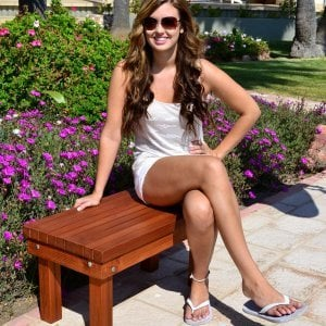 Wood Patio Bench (Options: 2 1/2 ft x 16 inches W x 15 1/2 inches H, Mature Redwood, No Cushion, No Engraving, Transparent Premium Sealant). Photo Courtesy of The Estero Beach Resort, Ensenada, Mexico.
