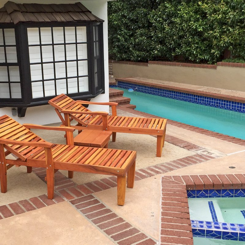 """Pool Loungers (Options: Single, Standard 74"""", Redwood, 18"""" H, Transparent Premium Sealant) with a Sturdy Rectangular Wood Side Table. Photo Courtesy of B. Hohl of Newport Beach, CA."""