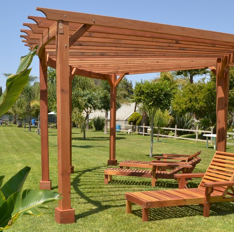 """Pool Lounger (Options: Single, Standard 74"""", Redwood, 13"""" H, Include Wooden Wheels, Transparent Premium Sealant). La grange style armrests & 54"""" L bed by custom request. Photo also shows The Fan Pergola"""