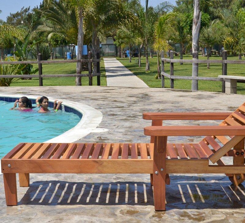 "Pool Lounger (Options: Single, Standard 74"", Redwood, 13"" H, Include Wooden Wheels, Transparent Premium Sealant). La grange style armrests & 54"" L bed by custom request."