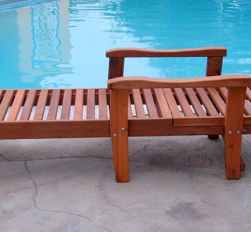 "Pool Lounger (Options: Single, Standard 74"", Mature Redwood, Transparent Premium Sealant)."