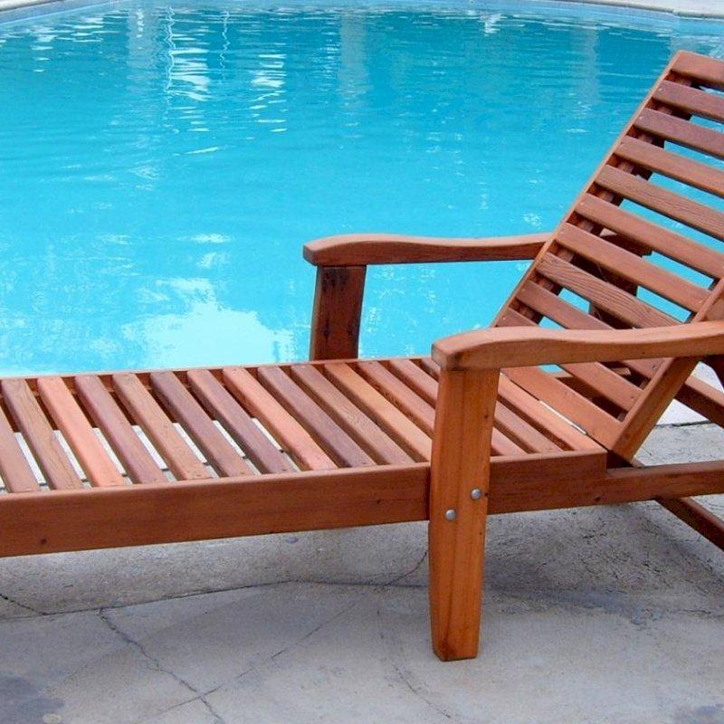 "Pool Lounger (Options: Single, Standard 74"", Mature Redwood, 13"" H, No Wheels, No Cushion, Transparent Premium Sealant). Set to the tallest backrest position."