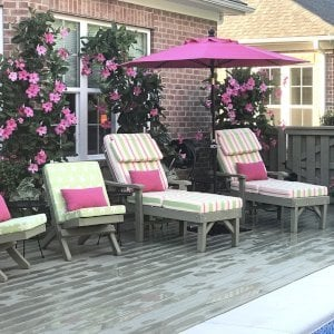 """Pool Loungers (Options: Single, Standard 74"""", 15.5"""" H, Douglas-fir, Single 4-inch Thick Handmade Cushion - Custom Color, Sherwin Williams, SW7737 Meadow Trail Stain by Custom Request). Photo also shows 2 Portable Redwood Beach Chairs. Photo Courtesy of Pamela Fortier of Chapel Hill, North Carolina."""