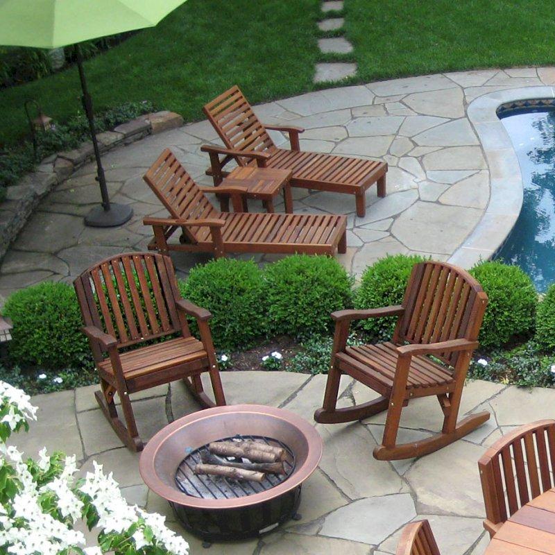 "Pool Loungers (Options: Single, Standard 74"", Mature Redwood, 13"" H, Wheels, No Cushion, Transparent Premium Sealant). Photo Courtesy of Susan Salmon of Collingswood, NJ."