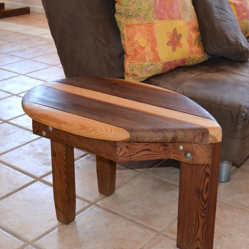 "Surf Side Table (Options: 30"" x 18"", Old-Growth Redwood and Douglas-Fir, 18"" H, Transparent Premium Sealant)."