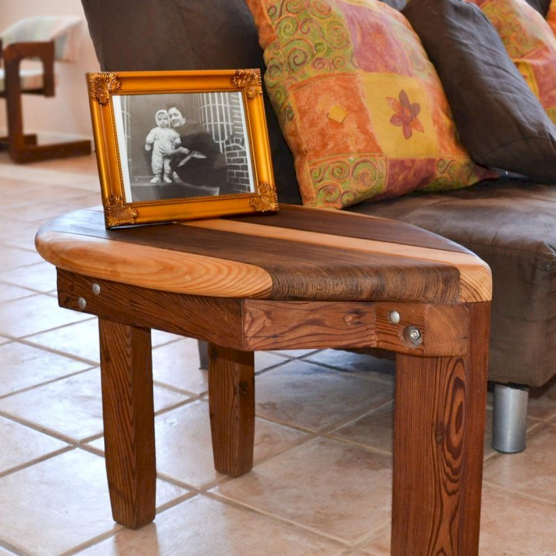 """Surf Side Table (Options: 30"""" x 18"""", Old-Growth Redwood and Douglas-Fir, 18"""" H, Transparent Premium Sealant)."""
