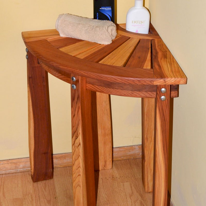 "Corner Shower Bench (Options: Redwood, 24"" H, Transparent Premium Sealant)."