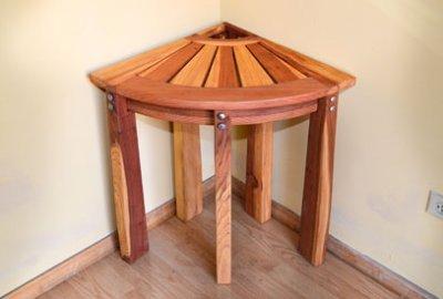 Wooden Corner Shower Bench