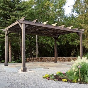 Garden Pergola (Options: 16' L x 12' W, Redwood, No Electrical Wiring Trim, Lattice Roof, Lengthwise Roof Support Timbers, 4-Post Anchor Kit for Stone, No Ceiling Fan Base, No Privacy Panels, No Curtain Rods, 9' Post Height, Custom Finish). Photo Courtesy of B. Savard of San Rafael, CA.